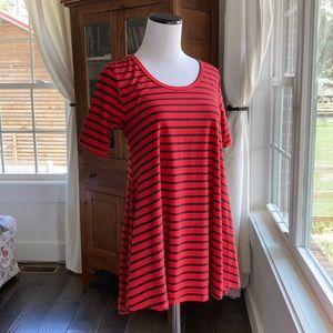 LuLaRoe Red and Black Striped Flared T-shirt, XXS